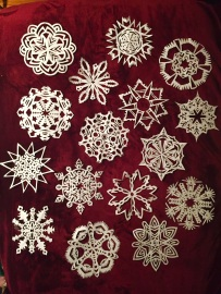 I went on a snowflake stint during Christmas 2015. I figured I should learn the crafts associated with my birthday. These things were a pain in the ass, but they're pretty!