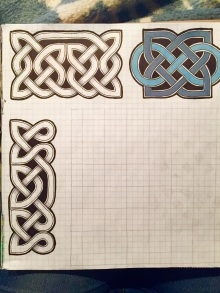 Practicing some Celtic knot work, because you can never be too prepared for a situation where you'll need to use this.
