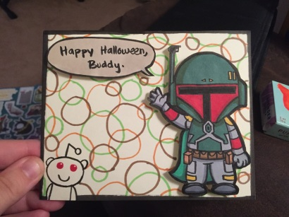 A Halloween card drawn for my Boba Fett loving Redditor in the Halloween exchange. She was pretty stoked.